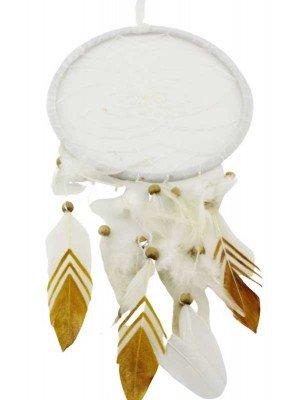 Wholesale White &  Gold Feather Design Dreamcatcher - 22cm