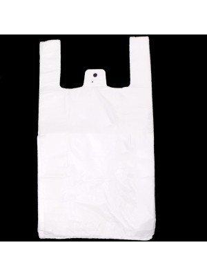"White Jumbo Vest Carrier Bag Large 23"" x 16"""