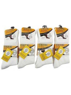 Men's Pack of 3 Stay Up Non-Elastic Diabetic Socks-White(6-11)