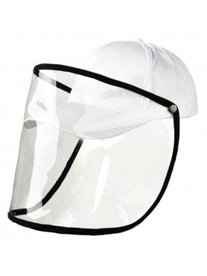 Wholesale White 6 Panel Baseball With Detachable PVC Visor