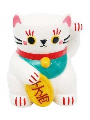 White Maneki Neko Lucky Cat Ceramic Oil Burner