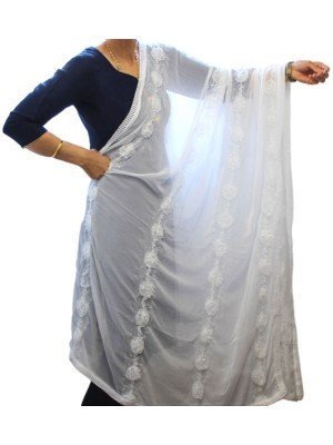 Wholesale Ladies Rose Design Nazneen Dupatta - White