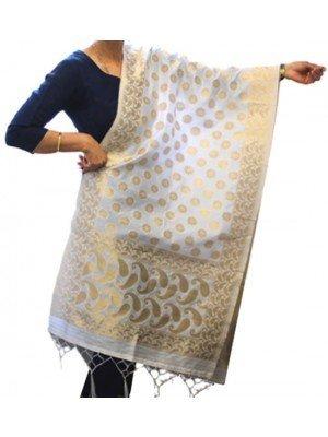 Wholesale Ladies Banarasi Brocket Silk Paisley & Floral Print Ethnic Dupatta - White