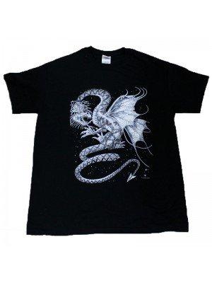 White Dragon Print T-Shirt