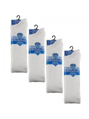 Wholesale White Knee High School Socks - Fresh Feel (3 Pair Pack) - (UK - 9-12)