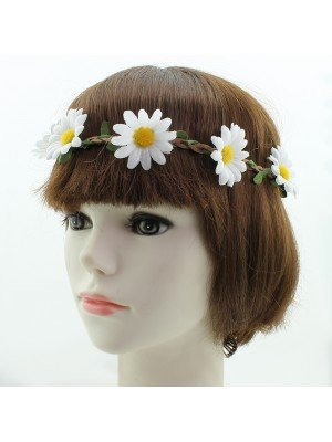 White Sunflower on Plated Elastic Headband