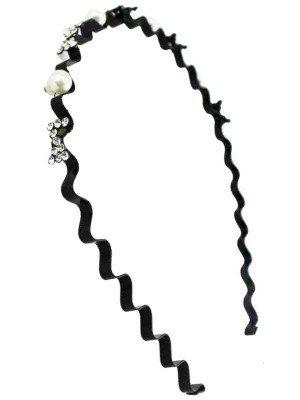 Wholesale Pearl And Bow Diamante Design Alicebands (1cm)