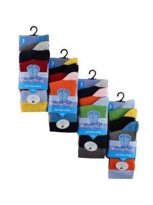 Wholesale Boy's Card Of 3 Fresh Feel Assorted Cotton Lycra Socks(UK - 3-5)