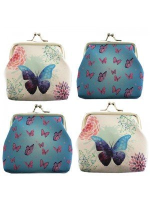 Wholesale PVC Butterfly Design Coin Purse - Assorted