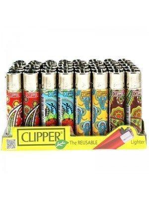 Wholesale Clipper Flint Reusable Lighters - Paisley Design