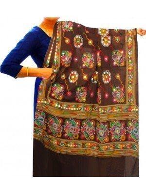 Wholesale Ladies Ethnic Dupatta Aari Embroidery & Foil Mirrors Dupatta - Brown