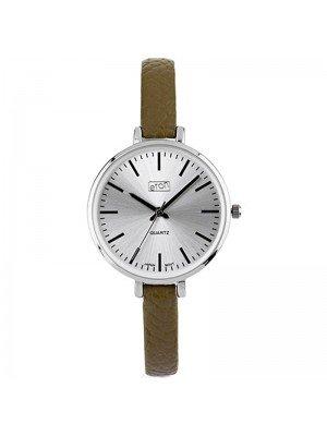 Wholesale Eton Ladies Faux Slim Strap Watch - Olive/Silver