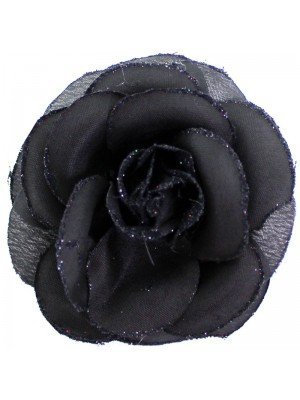 Wholesale Fabric Crimson Rose Flower With Clip - Black