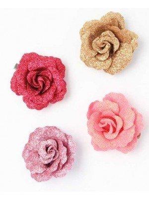 Wholesale Glitter Fabric Rose On Fork Clip - 5cm
