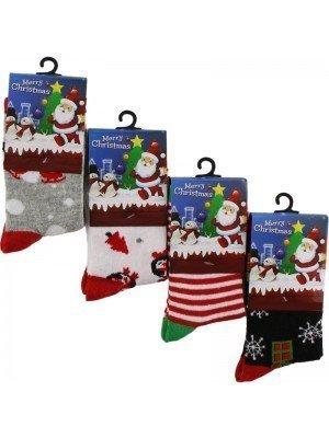 Wholesale Kids Cotton Rich Christmas Design Socks (1 Pair Pack) - (UK 12.5-3.5)