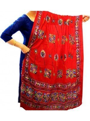 Wholesale Ladies Pure Cotton Aari Embroidery & Foil Mirrors Dupatta - Red