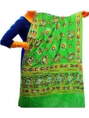 Wholesale Ladies Ethnic Aari Embroidery & Foil Mirrors Dupatta