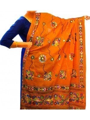 Wholesale Ethnic Dupatta Aari Embroidery & Foil Mirrors Dupatta - Orange