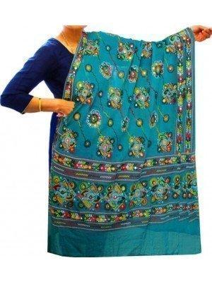 Wholesale Ladies Pure Cotton Aari Embroidery & Foil Mirrors Dupatta - Teal