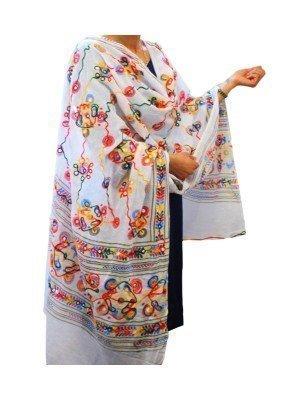 Wholesale Ladies Pure Cotton Aari Embroidery & Foil Mirrors Dupatta - White