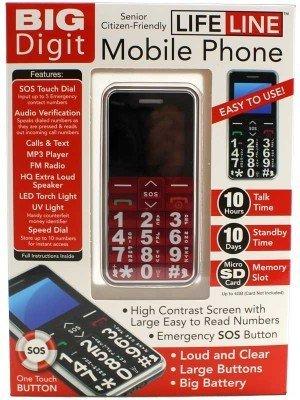 LifeLine Senior Citizen Friendly Mobile Phone - Red