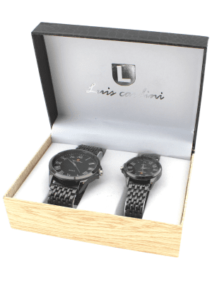 Luis Cardini His & Her Watch Gift Set - Black (2330)