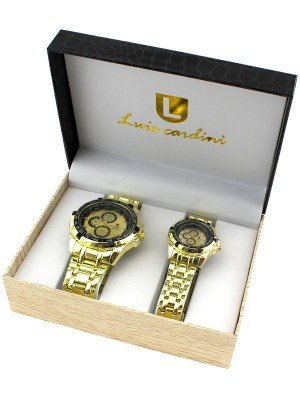 Luis Cardini His & Her Watch Gift Set - Gold (1987)