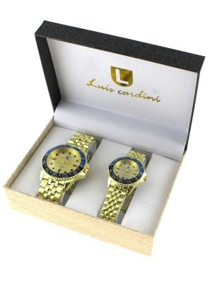 Luis Cardini His & Her Watch Gift Set - Gold (2457)