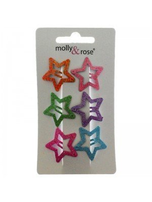 Wholesale Molly & Rose Brightly Coloured Glitter Star Shaped Snap Clips