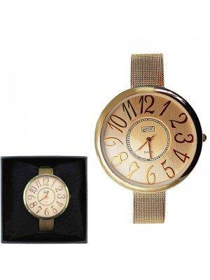 Ladies Eton Round Metal Bracelet Watch - Rose Gold