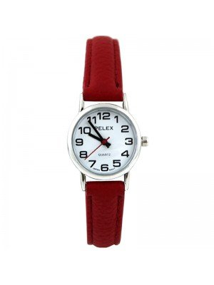 Wholesale Pelex Ladies Classic Round Dial Leather Strap Watch - Red/Silver