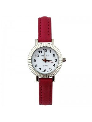 Wholesale Pelex Ladies Round Dial Faux Leather Strap Watch - Hot Pink/Silver