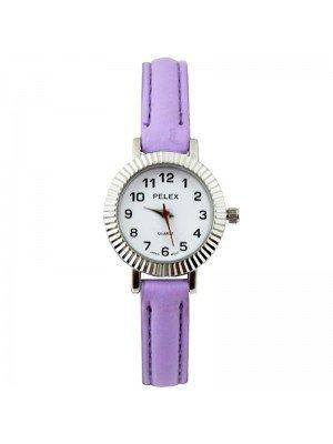 Wholesale Pelex Ladies Round Dial Faux Leather Strap Watch - L-Purple/Silver