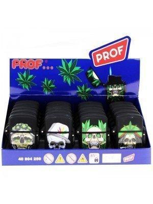 Wholesale PROF Blue Jet Flame Rasta Skull Malibu Refillable Lighters - Assorted