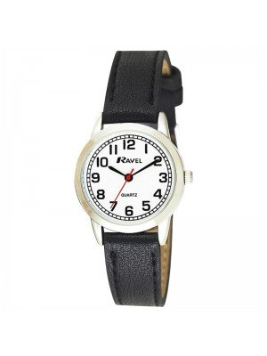 Wholesale Ravel Ladies Classic Faux Leather Strap Watch - Black/Silver