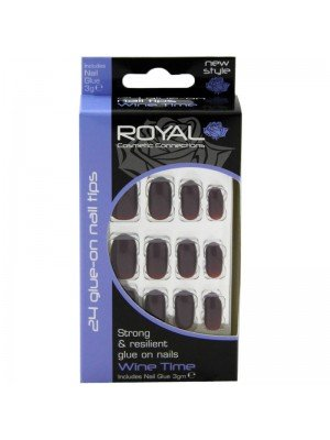 Wholesale Royal Cosmetics 24 Glue-On Nail Tips - Wine Time