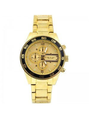 Wholesale Softech Mens 3 Dial Metal Bracelet Fashion Watch - Gold