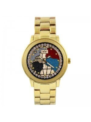 Wholesale Softech Mens Map Design With Crystal Dial Metal Strap Watch - Gold