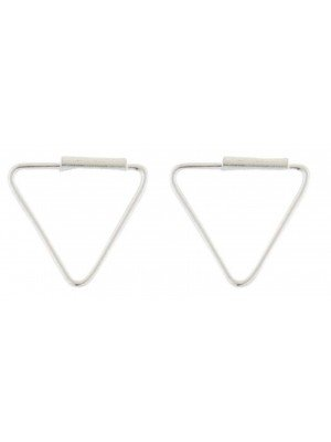 Wholesale Sterling Silver Triangle Hoop Earrings - 8mm