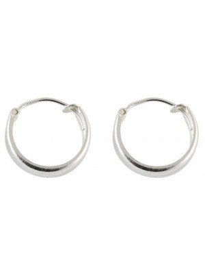 Sterling Silver Rounded Hoop Earrings - 12mm