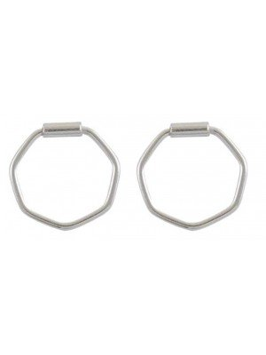 Wholesale Sterling Silver Hexagon Hoop Earrings - 12mm