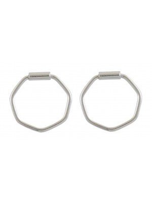 Wholesale Sterling Silver Hexagon Hoop Earrings - 10mm