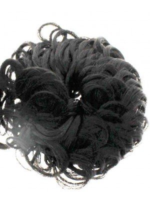 Wholesale Synthetic Hair Scrunchies - Brown-Black