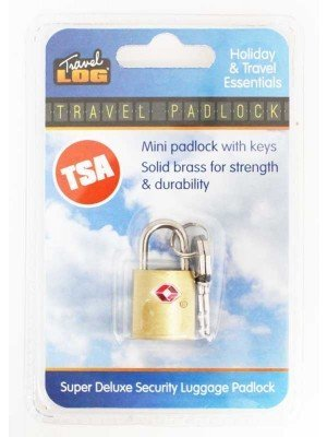 TSA Brass Mini Travel Padlock With 2 Keys