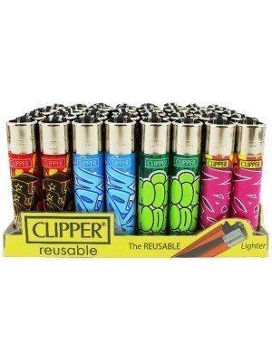 Wholesale Clipper Flint Reusable Lighters Grafffiti Designs - Assorted