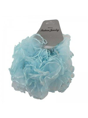 Wholesale Net Hair Scrunchies - Paled Turquoise