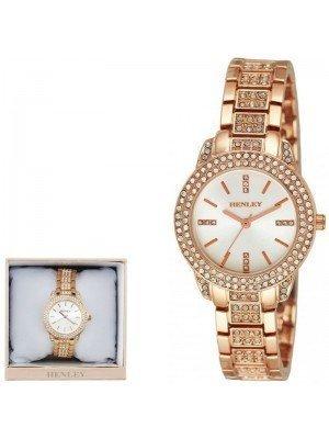 Wholesale Henley Ladies Bling Diamante Bracelet Watch - Rose Gold