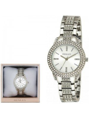 Wholesale Henley Ladies Bling Diamante Bracelet Watch - Silver