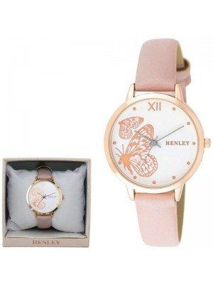 Wholesale Henley Ladies Butterfly Design Fashion Strap Watch - Pink