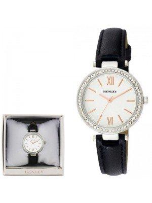 Wholesale Henley Ladies Classic Diamante Faux Strap Watch - Black